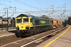 2 September 2018. 66620 passes through Wolverton on a sunny Sunday morning on the rear of the 6X04 0930 Denbigh Hall South Junction - Crewe Basford Hall.