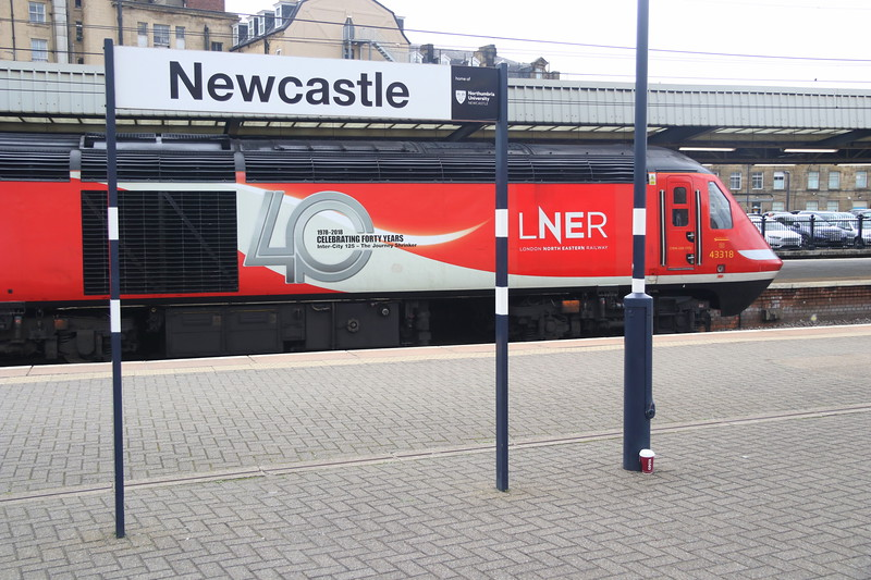 15 September 2018. Carrying 40 YEARS celebratory vinyls, 43318 calls at Newcastle with the 'Highland Chieftain', the 1S16 1200 King's Cross - Inverness.