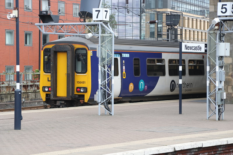 15 September 2018. Heaton allocated 156481 stands at Newcastle having arrived with the 2N30 1357 ex Hexham.