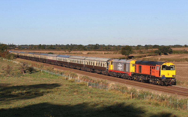 23 September 2018. 20311, the former 20102 leads sister 20132 Barrow Hill Depot past Husborne Crawley on the Bletchley - Bedford 'Marston Vale' route working the GBRf Out of the Ordinary charter Day 2, the 1Z20 0708 Euston - Wellingborough Yard. GBRf 66728 brought up the rear and led South down the MML from Wellingborough.