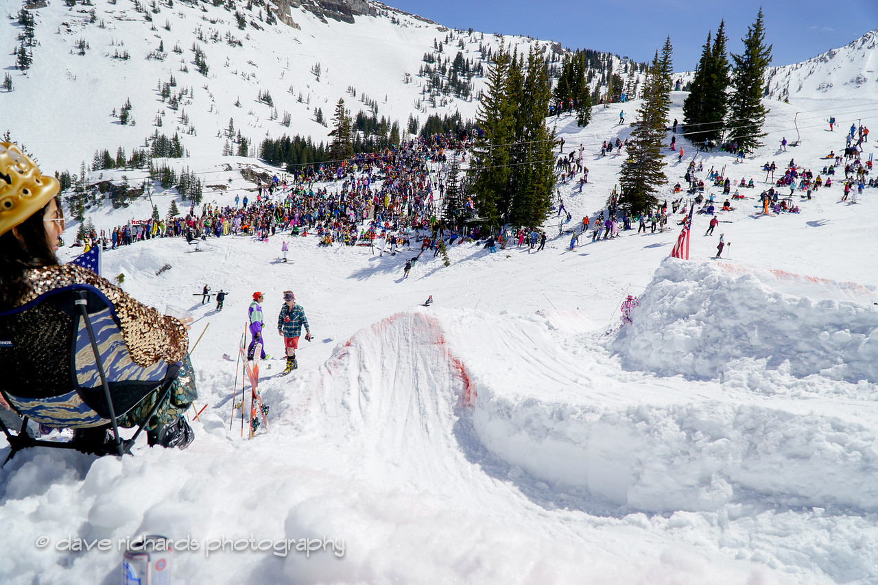 a multitude of jumps & kickers await the participants of  the Frank World Classic dwhile the fans cheer them on during the 2017 Alta closing day festivities (Photo by Dave Richards, daverphoto.com)