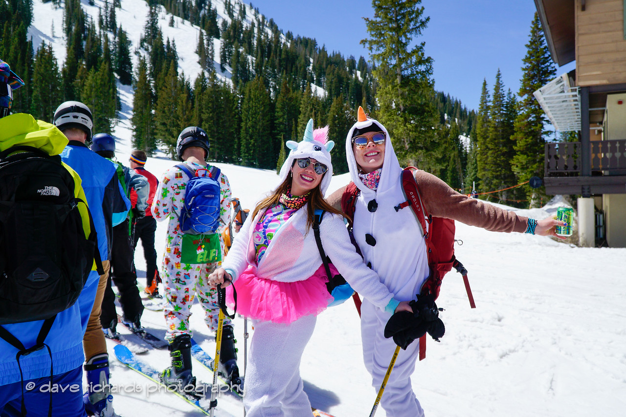 a couple of snow bunnies enjoying the 2017 Alta closing day festivities (Photo by Dave Richards, daverphoto.com)