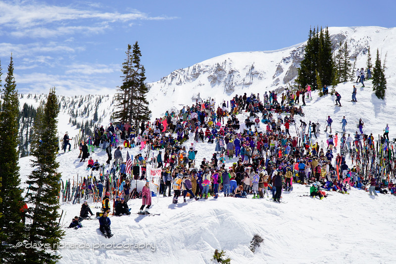 crowds gather under the Wildcat lift for the Frank World Classic. 2017 Alta closing day festivities (Photo by Dave Richards, daverphoto.com)