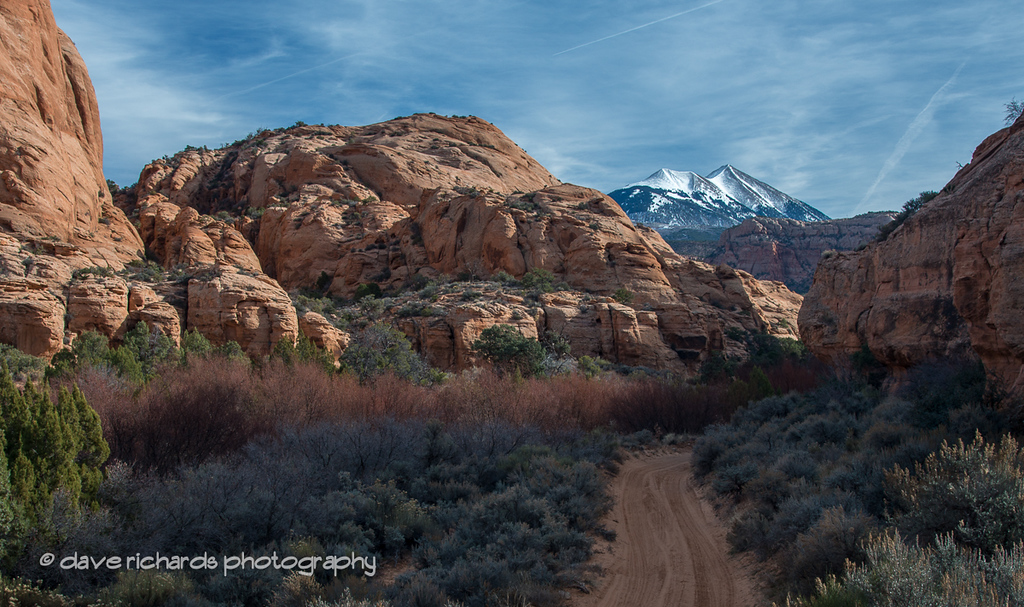 Flat Pass trail with La Sal Mountains backdrop. Moab, Utah over 2014 Thanksgiving holiday