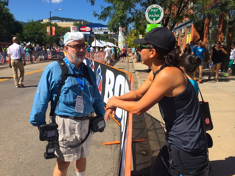 talkin' with photog Cathy Fegan Kim @ the USA Pro Challenge in Boulder, CO