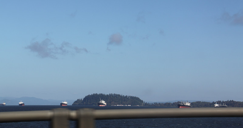 View of the Astoria shipping lane from the bridge across the Columbia River from Astoria, OR to Washington.
