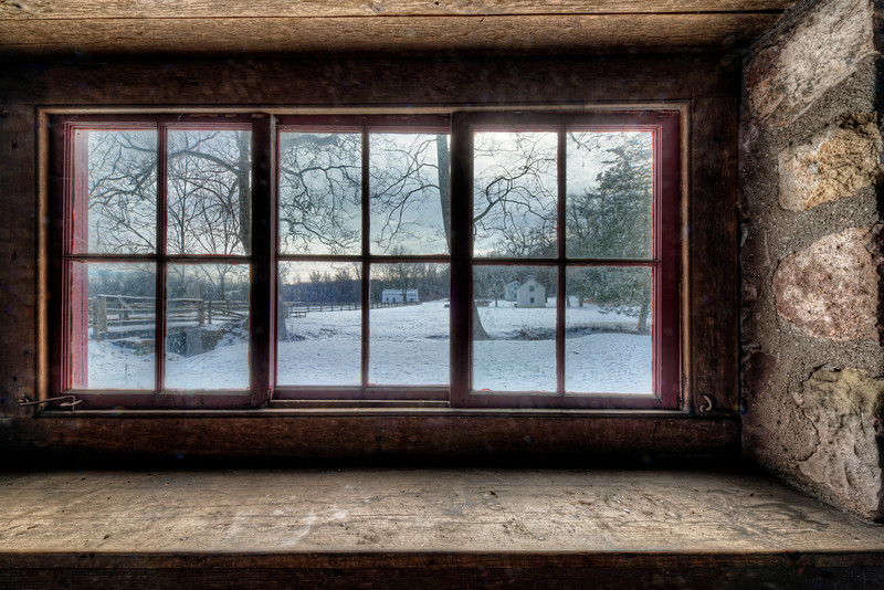 Looking out the blacksmith shop on a January morning
