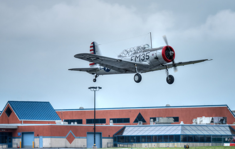 """NORTH AMERICAN SNJ-4  """"TEXAN"""" SHORTLY AFTER TAKEOFF"""