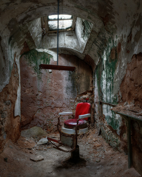The red barber chair at Eastern State Penitentiary.