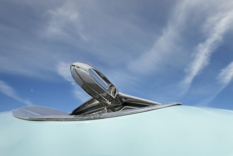 Appropriate jet hood ornament for an air show...1956 Buick