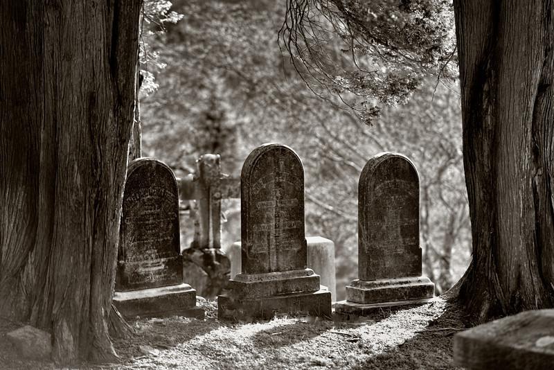 Three Tombstones & a Cross (h)