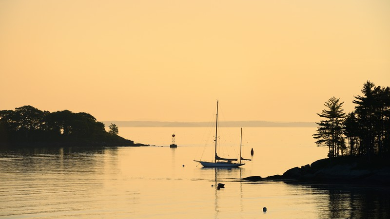 Moored at the Mouth of Camden Harbor in Early Light
