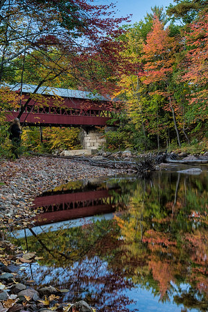 We hunted for a covered bridge that was photogenic, and finally found what we were hoping for at the Swift River Covered Bridge in Conway, NH.