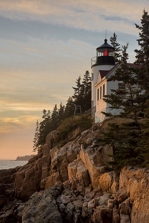 Bass Harbor Head Lighthouse at sunset.