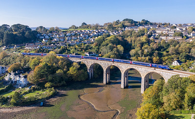 201018  FGW  125 crosses Coombe by saltash viaduct with the 1A81 0900 Penzance to London Paddington