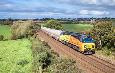 121017  After running round in Liskeard 70808  is seen having just crossed Bolitho viaduct with the 6C36  ThO  11:38 Moorswater-Aberthaw cement works