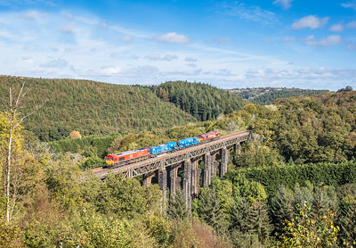 051017 66136 top & tailed with 66027  on the 3S56 12:43 Hackney Yard to St Blazey cross St Pinnock viaduct.