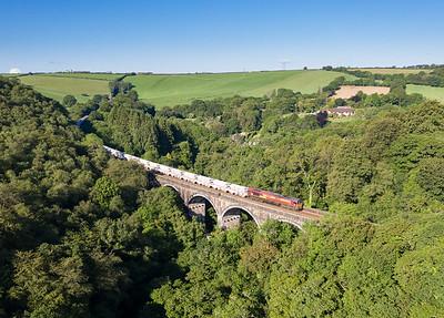 060619   .66025 heads over Milltown viaduct with the 6G06   07:39 Goonbarrow-Fowey.