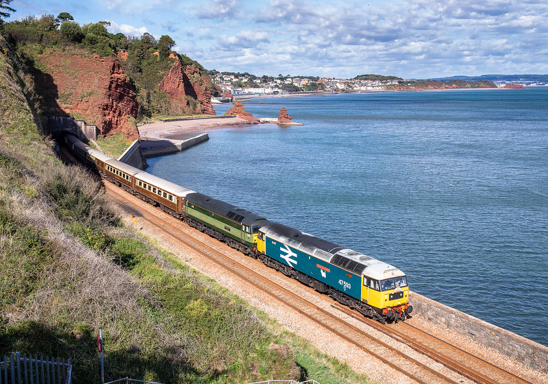 """47593 """"Galloway Princess""""and 47805  {D1935 """"Roger Hosking MA 1925-2013). pass horse Cove with the 1Z70 06:08 York to Penzance """"Cornish Riviera Statesman"""""""