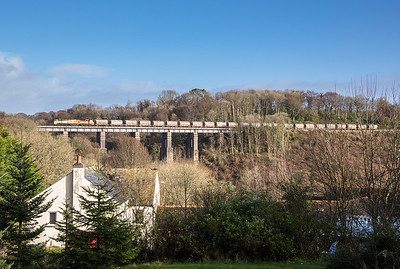 170117  70812 heads over Coldrenick viaduct with the  6C35   WO  02:50 Aberthaw cement works-Moorswater