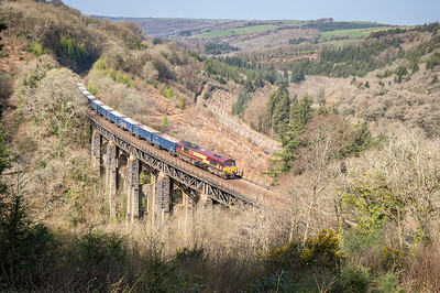 010419   66164 heads over Largin Viaduct with the 6C12  10:58 Burngullow-Exeter Riverside