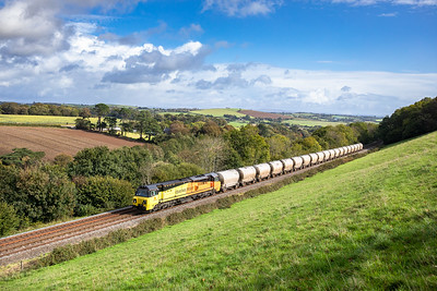 70808 heads upgrade out of St Germans with the late running 0545 Aberthaw to Moorswater