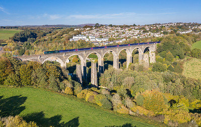 201018  FGW 125 43041/087  head the 1C81 1203 London Paddington to Penzance accross Moorswater viaduct