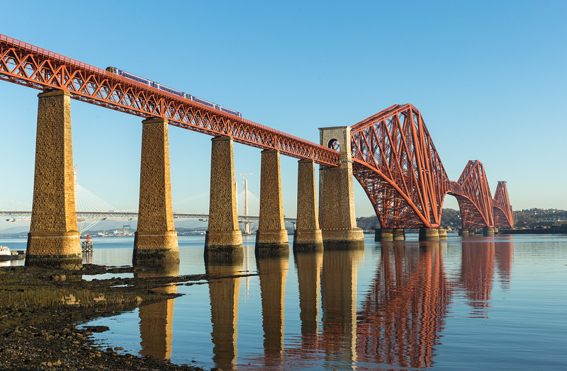 Looking Very nice....A class 156 lash up cross the Forth rail bridge before 0800
