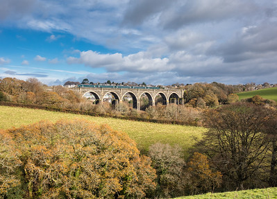 161117  802002 heads the 5X90 0746 Stoke Gifford to Penzance over Moorswater viaduct.