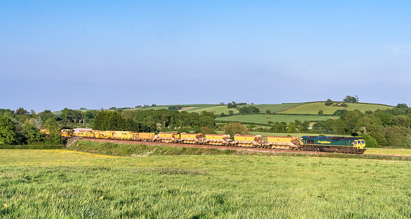 66568 T and T 66531 TRT near the top of rattery bank with the  6X04 1832 Fairwater Yard to Plymouth Ground Signal 132