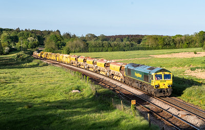 150518  ,66568 TnT 66550 pass dorsley park with the 6X04 1832 Fairwater Yard to Plymouth Ground Signal 132