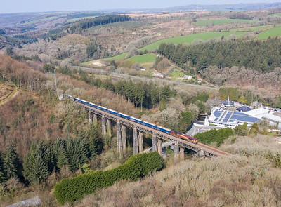 010419   66164 heads over St Pinnock Viaduct with the 6C12  10:58 Burngullow-Exeter Riverside