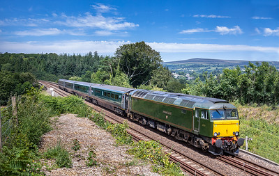 300618  57604 has just crossed Blachford viaducy and heads east  with the 2E75 1026 St Erth to Exeter St Davids (taken by the assistant)