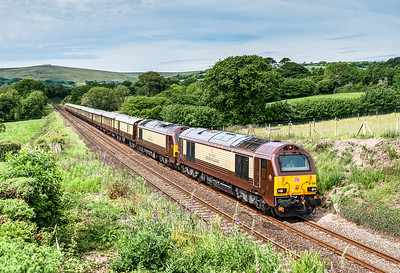 67024 and 67021  have just past South brent with the  1Z79 0915 Penzance to Bath Spa