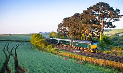 190518  57605 passes Trerulefoot with the 1C99 2345 London Paddington to Penzance