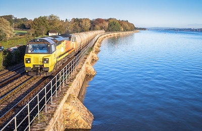 081117  70816 heads along the sea wall at Starcross with the 6C35   WO  03:34Aberthaw cement works-Moorswater