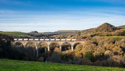 66085 heads the 6P24 15:25 Parkandillack-Fowey over Gover viaduct.