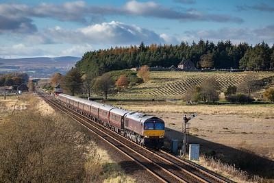 271019  .66746 tnt 66743 head the 5Z41 1214 Hamilton Steele E.G. to Gleneagles past Blackford