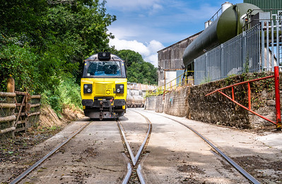 050718   After a late arrival the day before 70810 awaits to discharge its cement at Moorswater