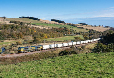 261019   .66738 heads past houndwood with the 6S45  09:25 North Blyth-Fort William