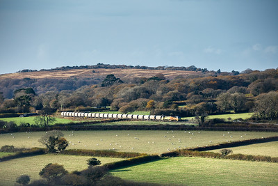 231117  .. 70806 is captiured between Ivybridge and Bittaford on the 6C36  ThO  11:38 Moorswater-Aberthaw cement works