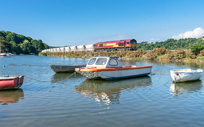 120718  ,the assistant gets her feet wet but bags the shot of 66031 at Golant with the 6G08  16:29 Goonbarrow-Fowey