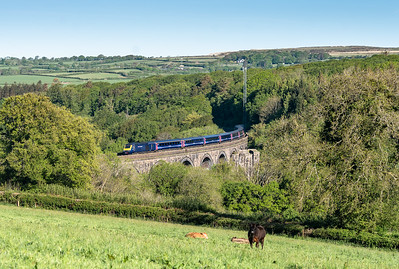 150518  FGW 125 crosses Blachford viaduvt with  the 1A77 0541 Penzance to London Paddington