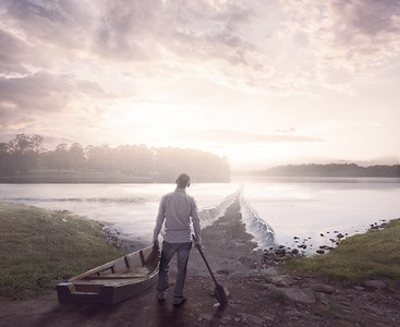 Man and parted lake