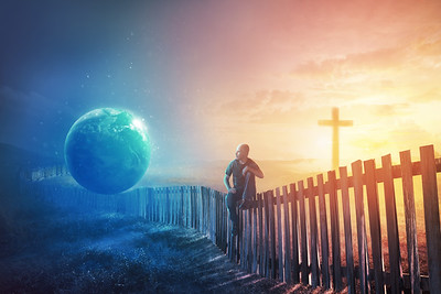 Man on fence between world and cross