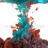 Blue and red paint in water