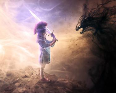 Little girl in fierce battle