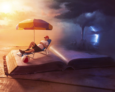 Relaxing on Bible with a storm