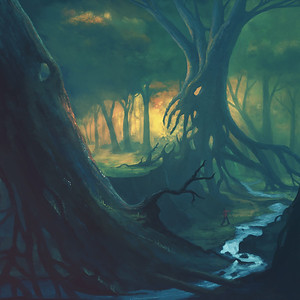 Scary forest landscape