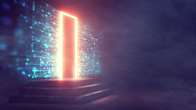 Futuristic Door with Technoloy Background